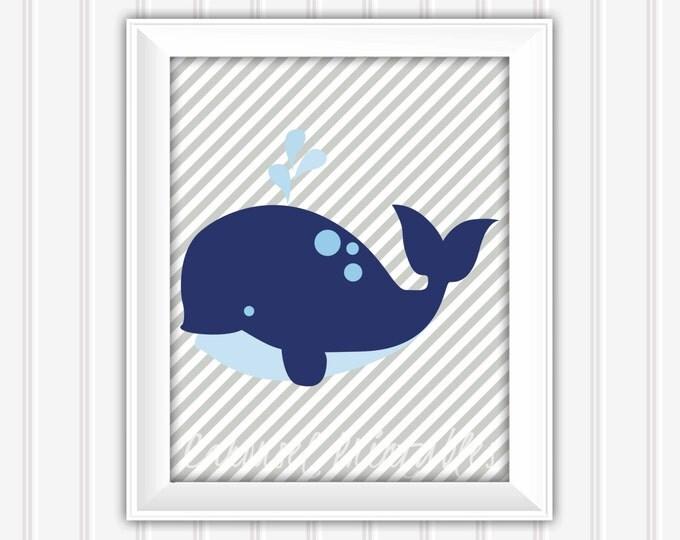 Whale Wall Art, Nautical Wall Art, Nautical Decor, Instant Download, Childrens Wall Art, Kids Wall Art, Nursery Wall Art, DIY Wall Art