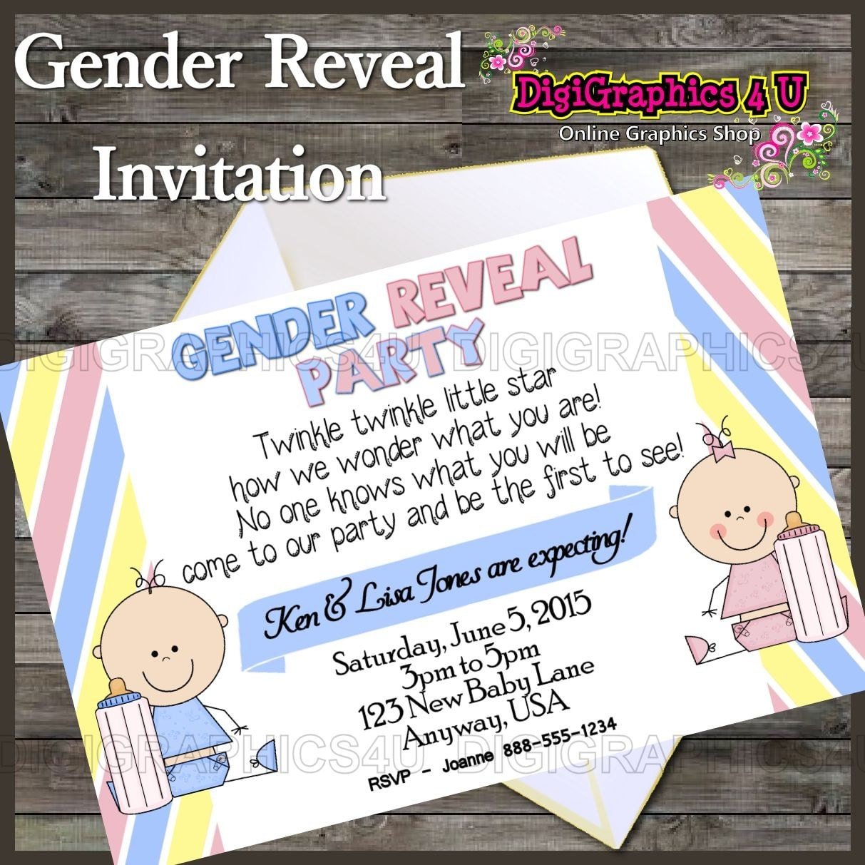 Personalized gender reveal party invitation printable digital file