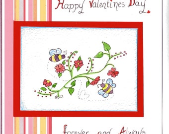 Valentine Card,Happy Valentines Day... forever and always - an original watercolour