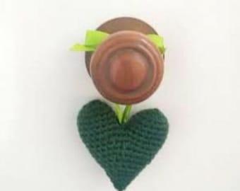 Crochet green heart. Home decor. Ready to ship.
