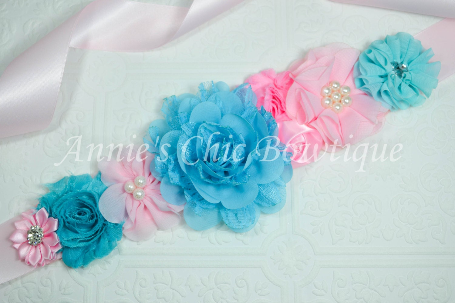 maternity sash pink sash blue baby shower by annieschicbowtique