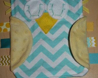 SALE!!!!  Aqua chevron owl lovie with yellow minky wings