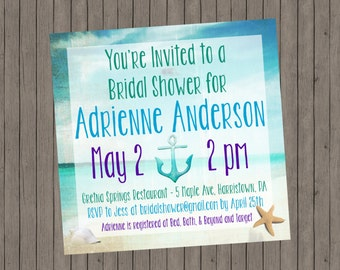 Beach Bridal Shower Invitation - Custom Bridal Shower Invitation - Beach Wedding Shower Invitation - Printable - DIY