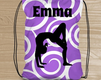 Personalized Drawstring Backpack - Gymnastics Backpack for Girls - Gymnastics Bag - Gymnast Drawstring Backpack