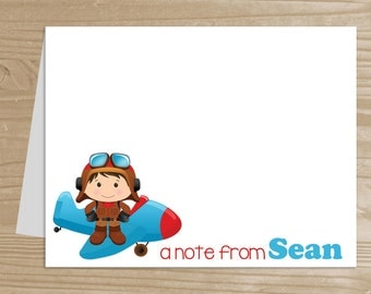 Personalized Kids' Stationery - Set of 10 Pilot Notecards for Boys - Folded Note Cards with Envelopes - Custom Plane Notecards