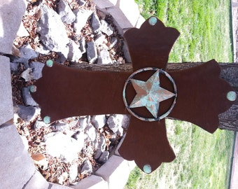 Cowhide Cross with Large Texas Star