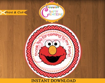 INSTANT DOWNLOAD- Elmo Favor Tags- Sesame Street Sticker-Party Tags-Thank You Tags- Gift Tags- Birthday -Printable-CraftyCrearionsUAE