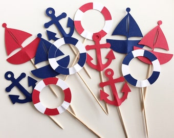 Nautical Themed Cupcake Toppers - Sailboats, Anchors & Life Preserver - Set of 12 - Navy and Red