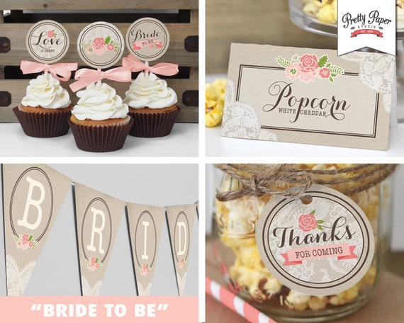 Bridal shower decor pack rustic lace instant download shower il570xn junglespirit Choice Image