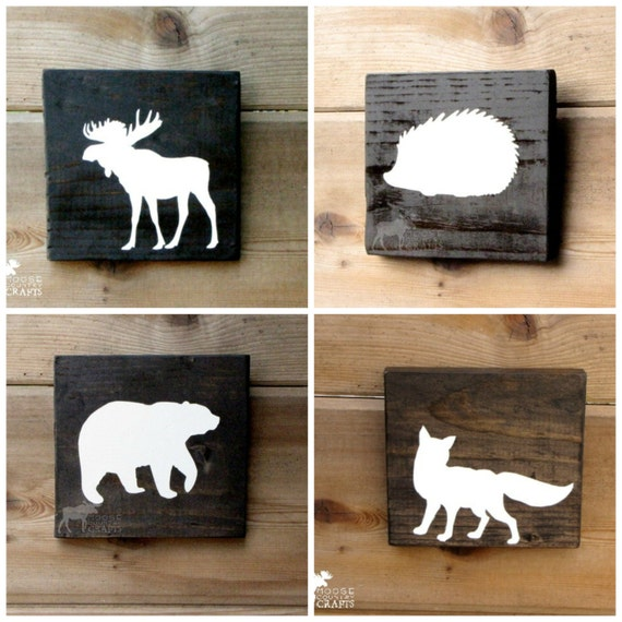 Rustic Wall Decor For Nursery : Items similar to rustic wood animal wall art pine