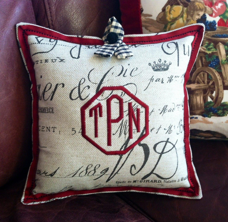 Linen Monogram Throw Pillow: Monogrammed Pillow Personalized Throw Pillow Kravet Linen