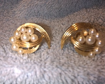 Vintage Trifari Clip on Earrings - Gold Toned with Faux Pearl
