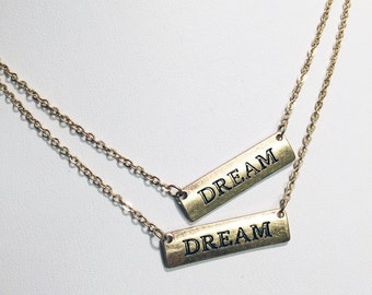 Burnished silver dream tab pendant necklace love text dream letter