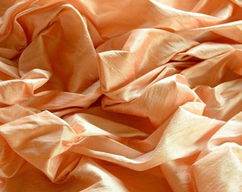 "Iridescent Pale Peach Dupioni Silk, 100% Silk Fabric, 44"" Wide, By The Yard (S-213)"