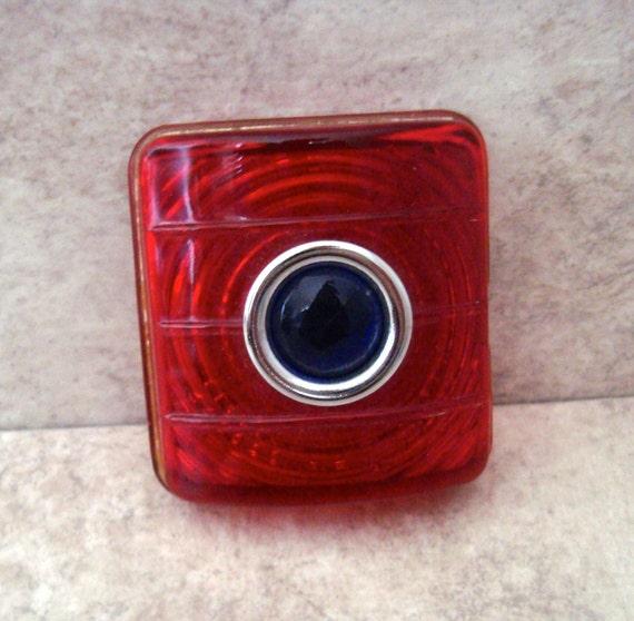 Vintage Tail Light Lens : Vintage red glass blue dot tail light lens by