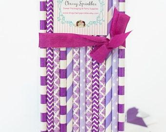 PURPLE Straws -Paper Straws Purple Straws for Parties, Weddings, Birthdays or Baby Showers *Purple Polkadots *Lavender Straws *Chevron