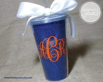 Personalized Monogram Glitter Acrylic Tumbler, UF, Gator Cup, Go Gators, Orange and Blue