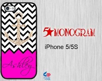 iPhone 5S Monogram iPhone 5S iPhone 5 Monogram Personalized iPhone 5s  monogram iPhone 5S Personalized iPhone 5s Chevron with Sparkle Anchor