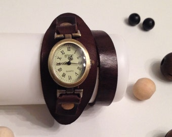 Retro Leather Wrap Oval Watch Antique Bronze Leather Bracelet Watch Wrist Leather Watch Vintage Leather Watch Dark Brown Genuine Leather