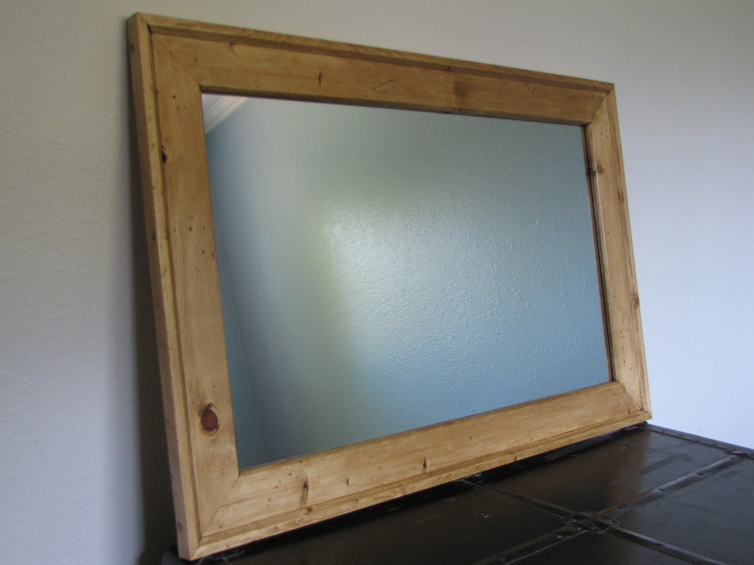 Extra Large Knotty Pine Mirror Frame Hand Distressed for