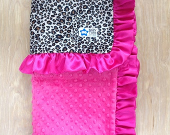 Tan Cheetah with Hot Pink Baby Blanket