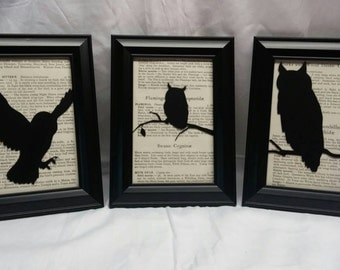 Owl Picture Frames -  Owl Home Decor - Owl Birthday Gift - Unique Gift - Owl Gift for Her - Unique Housewarming Gift - Primitive Decor