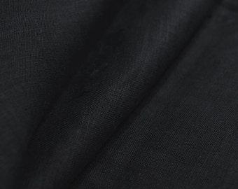 Black pure Linen flax Fabric Cloth Width 59 inch Light Weight Eco-friendly - Custom Yardage