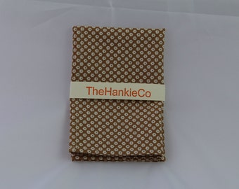 Large stylish hankie in cream and light brown,  a neutral colour that will go with any outfit.