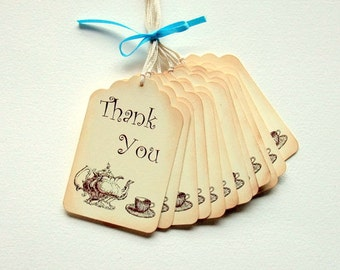 Thank You Tags, Vintage Teapot & Teacup, Vintage Inspired, Tea Party, Bridal Shower, Baby Shower, Gift Tags, Favor Tags, Set of 6 or 12