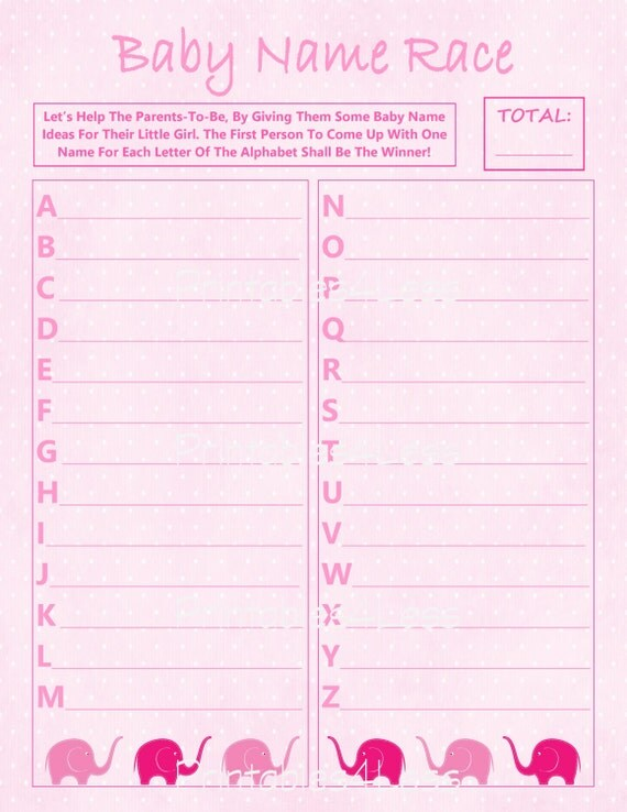 Pink Elephant Name Race Baby Name Race Printable Cheap Baby