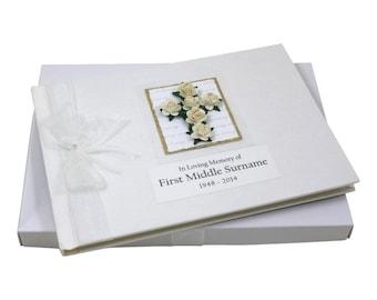 Condolence Book - Floral Cross