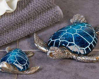 NEW! Sea Turtle statue, tin and glass. Big Blue model, 4.5 inches (12 cm)
