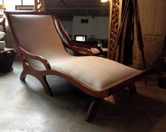Mid Century MCM Chaise Lounge - Walnut