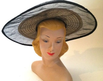 vintage Gone With the Wind Mesh Edged Sun Hat 1940s