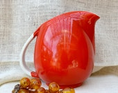 Hall Red and white Pitcher // vintage Jug // vintage Art Deco pitcher