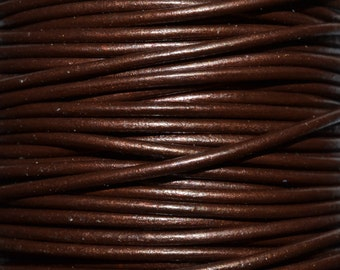 Tamba / Metallic Brown / 1.5mm Leather Cord / leather by the yard / round leather cord / genuine leather / necklace cord / bracelet cord