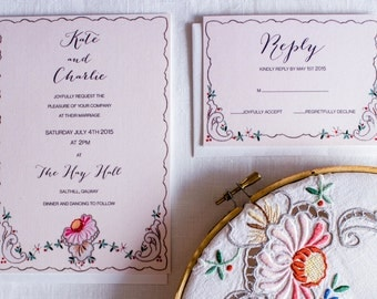Luxe wedding invitation & RSVP with vintage floral embroidery design.