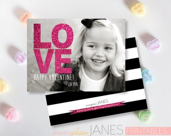 "Glitter Valentine Photo Card Printable - 4X5.5 with *bonus back side"""