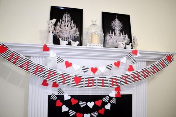 Happy Birthday banner Valentines birthday banner garland set