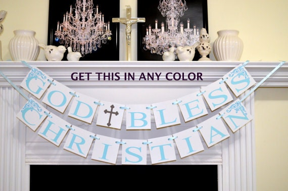 Baptism banner god bless your child banner christening for Baby dedication decoration