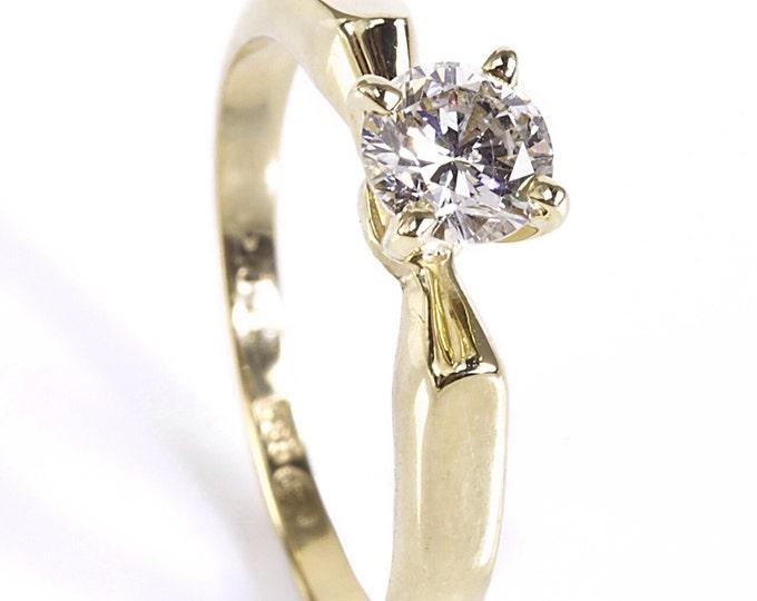 1/2 carat Diamond Engagement Ring, Solitaire 14K Yellow Gold Ring,  Women Jewelry, Custom Size