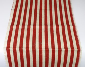 """Striped Burlap Long Runner 23"""" x 108"""" Red and Ivory rustic, weddings, beach, fringe catering, home decor, nautical theme(BS-L111)"""