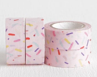 Pink Sprinkles Party Washi Tape, DIY Birthday Invitations Planners Daybooks Agendas 15mm x 10m