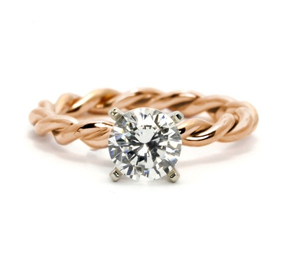 Unique Hand Twisted Cable Rope Engagement Ring, Semi Mount, 14k Rose Gold,  14k
