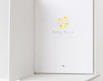 A Star is Born - MODERN BABY BOOK, Mushybooks, Baby Memory Book, Baby Shower Gift, Baby Gift, Baby Shower, Baby Album, Keepsake Baby Book