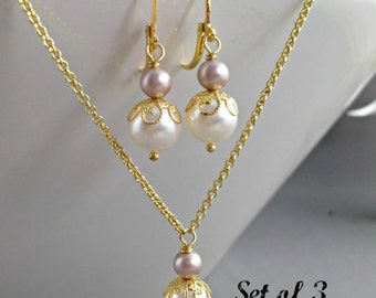 Bridesmaid Jewelry set of 3 three necklaces earrings wedding party gift Thank you Pearls gold Ivory Bridal shower gift Simple necklaces