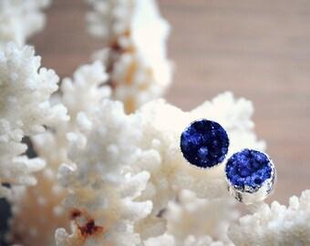 Druzy Stud Earrings. Druzy Post Earrings. Purple Druzy Earrings. Silver Plated Post Earrings. Round Druzy Earrings. Silver Edge Earrings