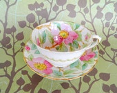 Vintage 1960 Tuscan Fine English Bone China Teacup and Saucer, Hand Painted Made in England Shabby Chic