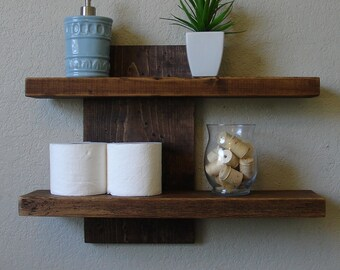 Modern Rustic 2 Tier Floating Wall Shelf