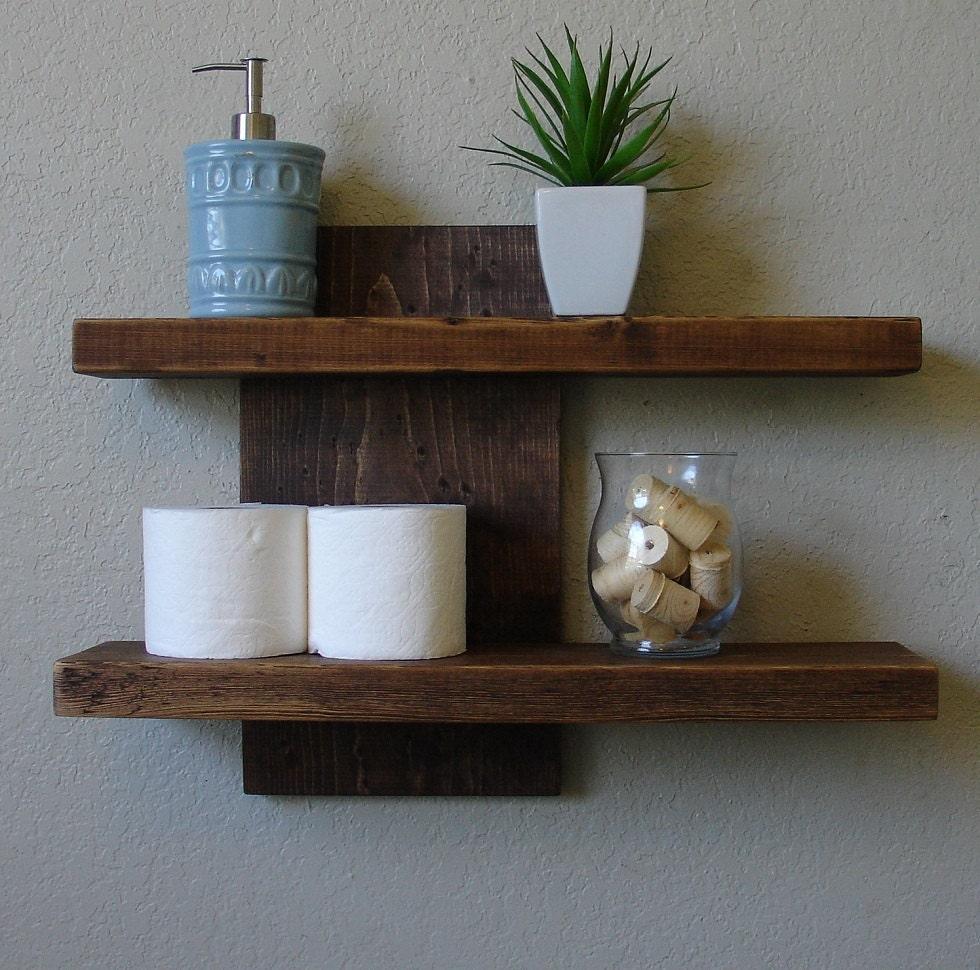 Modern Rustic 2 Tier Floating Wall Shelf